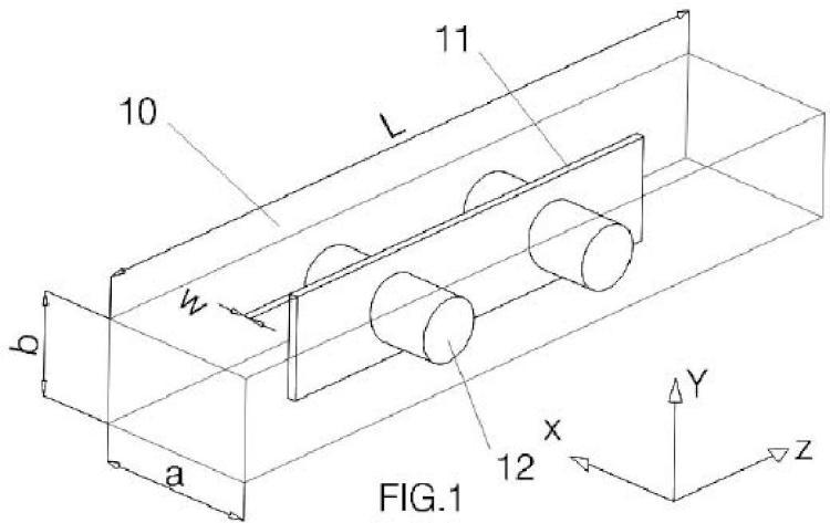 Filtro paso-banda en guíaonda rectangular evanescente de doble canal.