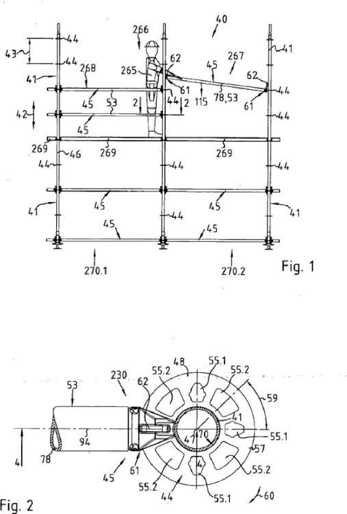 Disposición de un componente de andamio y de un elemento de andamio vertical.