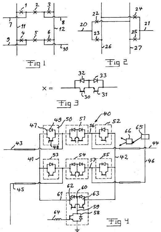 Un dispositivo de conmutación exterior para corriente continua de alta tensión con conmutadores de semiconductores.