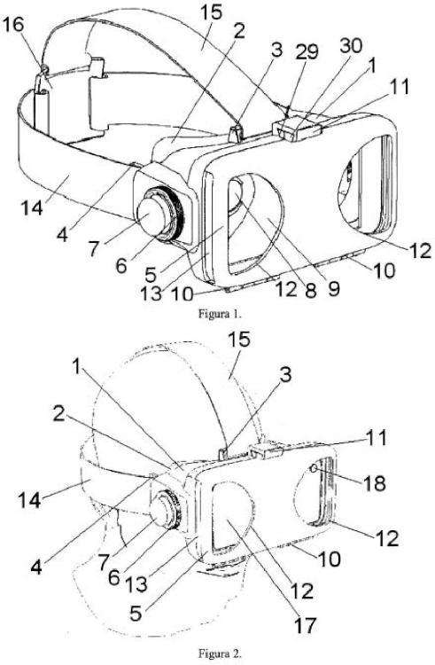 Visor adaptador de dispositivos gráficos móviles para visión virtual estereoscópica.