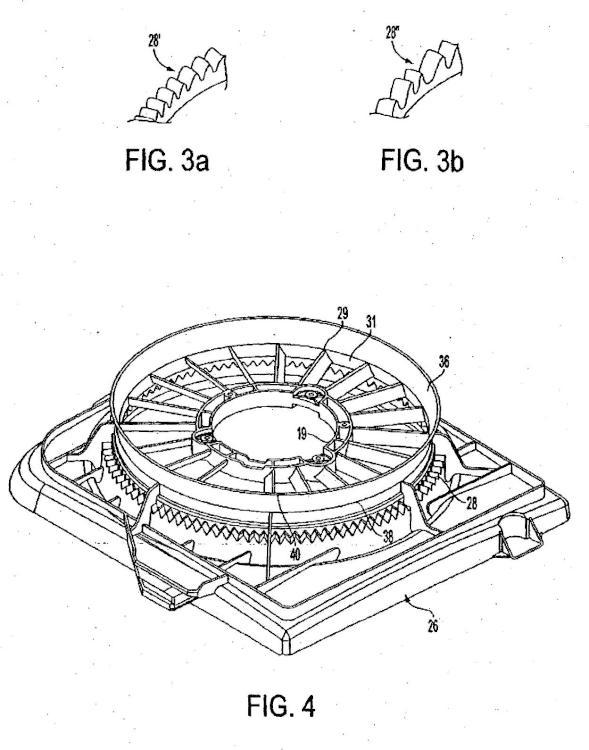 Junta de punta integral en una estructura de aro de refuerzo del ventilador.