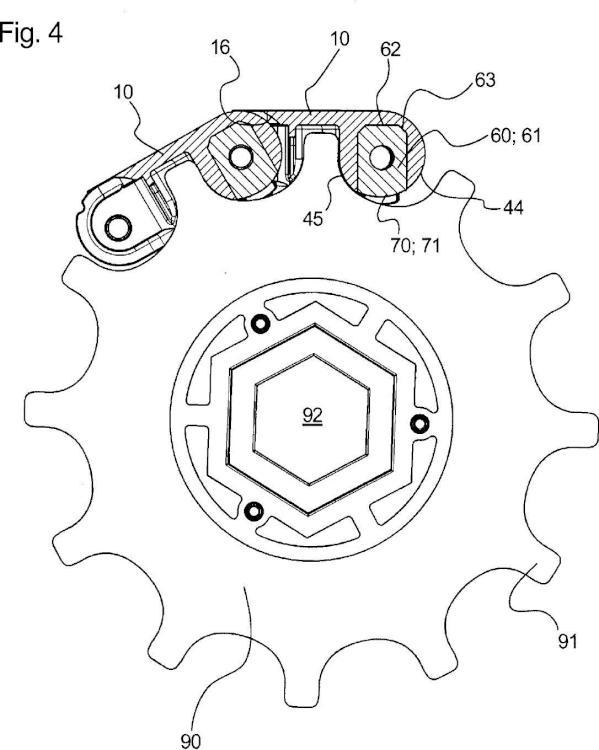 Eslabón de cadena con una sección de articulación y una sección de horquilla que están separadas por una sección de corredera.