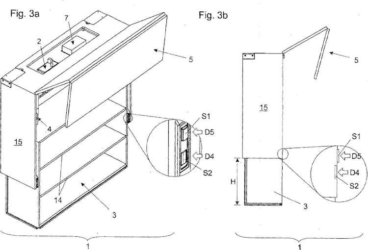 Mueble con cuerpo interior que puede subirse y bajarse y tapa para tapar el mismo.