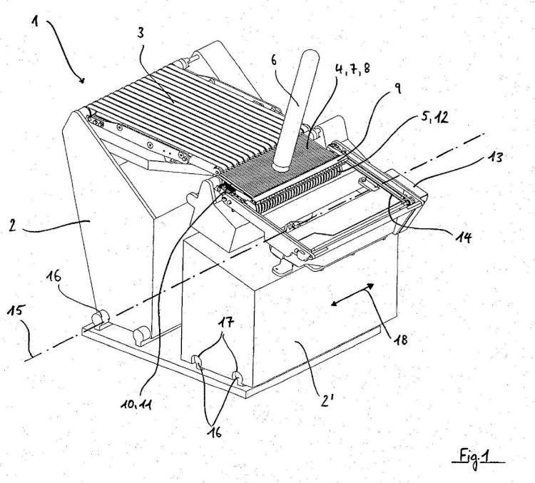 Procedimiento y dispositivo para cortar en rodajas de una barra extruida de alimento.