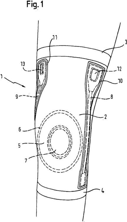 Rodillera de material elástico, con dispositivo auxiliar de colocación.