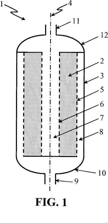 Procedimiento que utiliza recipientes de lecho radial que tienen distribución uniforme del flujo.