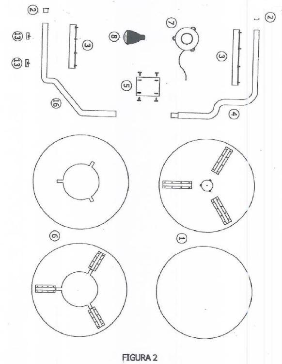 Mesa-Camilla sin patas sostenida por dispositivo de sujecion por perfiles en 'U' y con doble calefacción con lampara de infrarrojos y o brasero normal (S.P.U.C.).