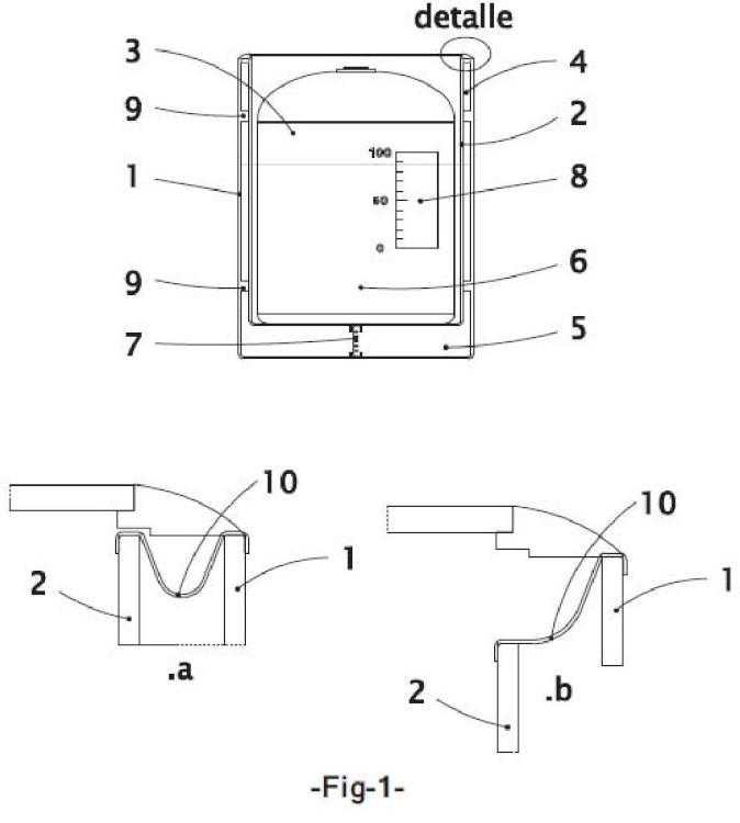 Dispositivo de medida del volumen de gas en una botella o bombona.