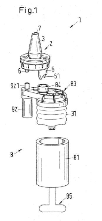 Mezclador para mezclar al menos dos componentes fluidos así como dispositivo de descarga.