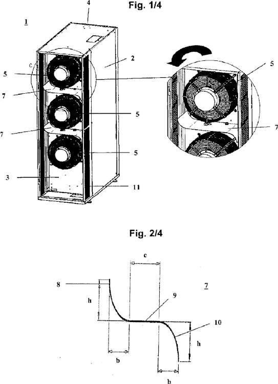 Aparato climatizador para la refrigeración de aparatos electrónicos o armarios de instrumentos electrónicos con chapa para mejorar la ventilación.