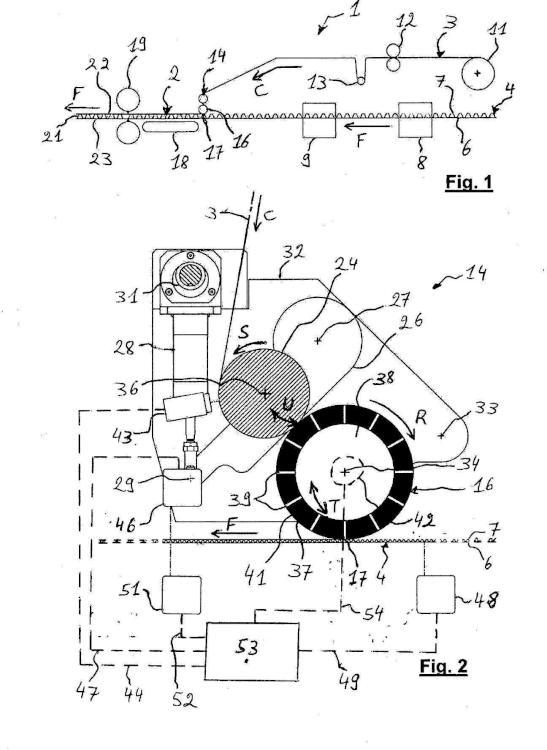 Unidad para laminar una primera banda sobre una segunda banda en una maquina laminadora y método para fabricar un compuesto multi-capa.