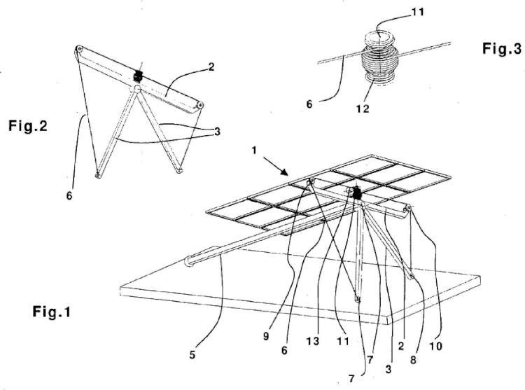 Sistema de cables para hacer bascular una estructura de soporte de módulos fotovoltaicos o dispositivos comparables.