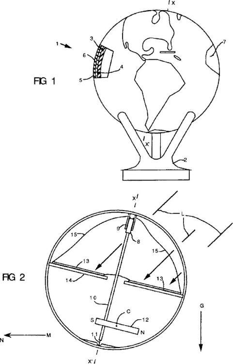 Dispositivo esférico de visualización auto-rotatorio.