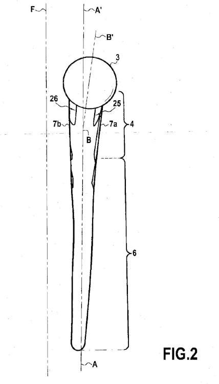 Vástago femoral para prótesis de cadera.