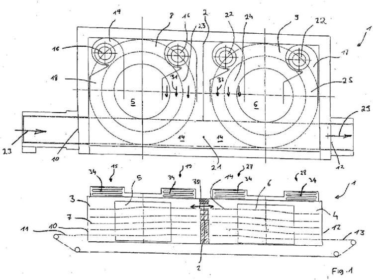Horno y proceso para controlar el flujo de aire y las fugas de aire entre dos cámaras.