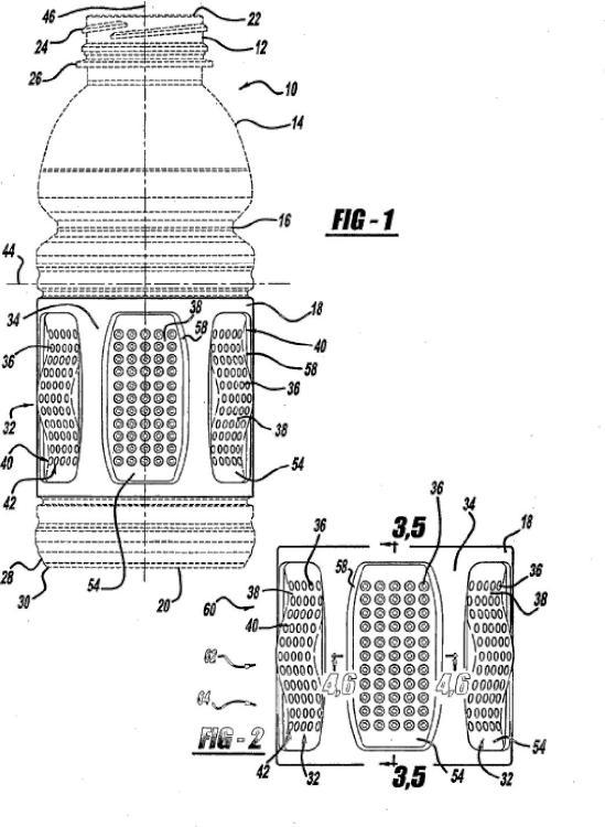 Paneles de inversión de vacío para un recipiente de plástico.