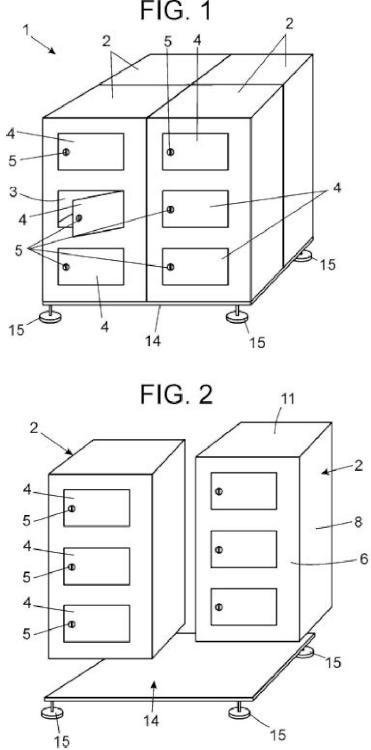 Mueble de taquillas plegable y modular.