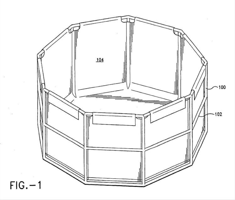 Sistema de soporte de accesorios para piscina sobre suelo.