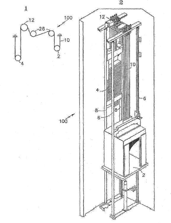 Montaje de una máquina en un sistema de ascensor sin sala de máquinas.