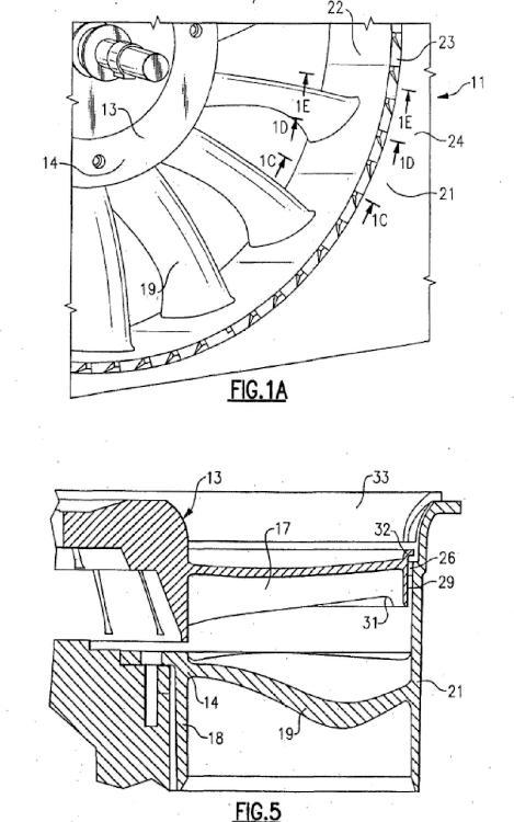 Diseño de carcasa de ventilador axial con cuñas circunferencialmente separadas.