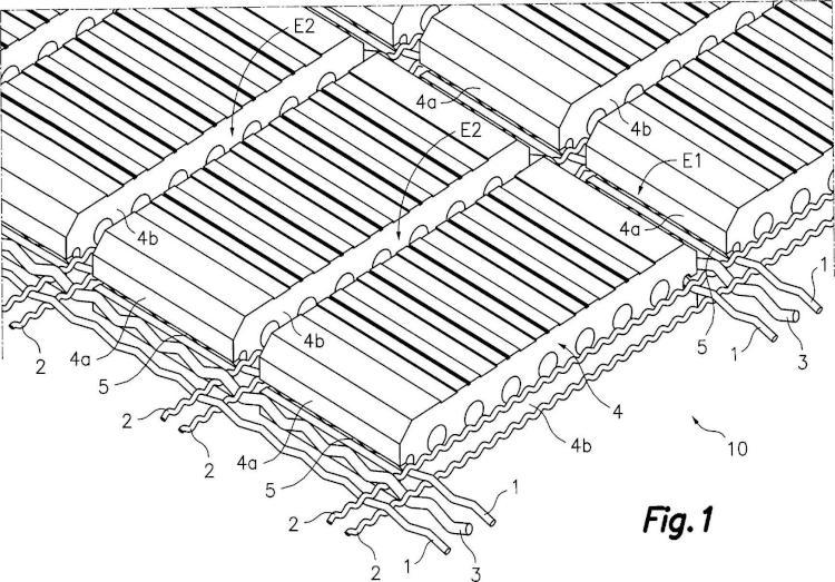 Lámina flexible de ladrillos para la construcción de elementos arquitectónicos, y procedimiento para fabricacación de dicha lámina.
