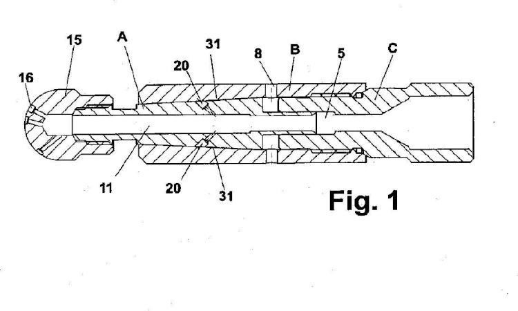 Boquilla rotativa a alta presión autoregulada de soporte líquido con fuerza de empuje equilibrada.