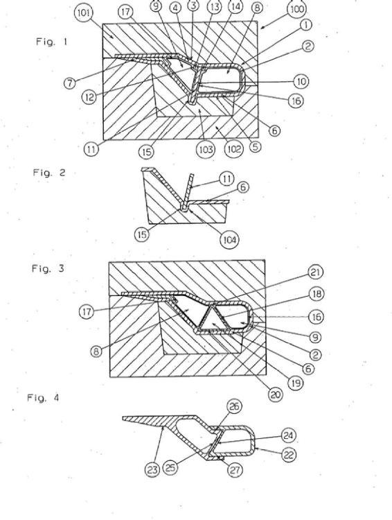 Barra de plástico para útiles de tricotar.