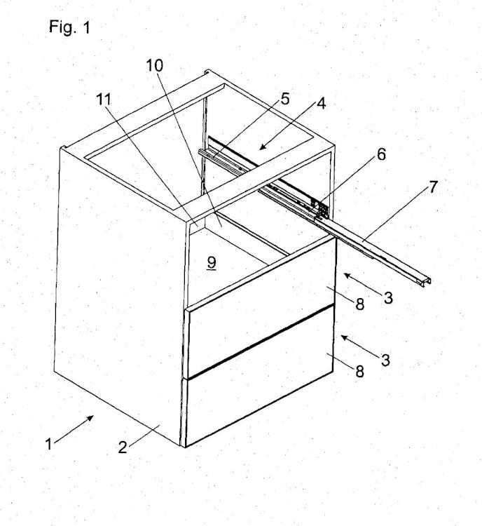 Dispositivo de unión para la unión de dos partes de pared de cajón dispuestas en ángulo recto.