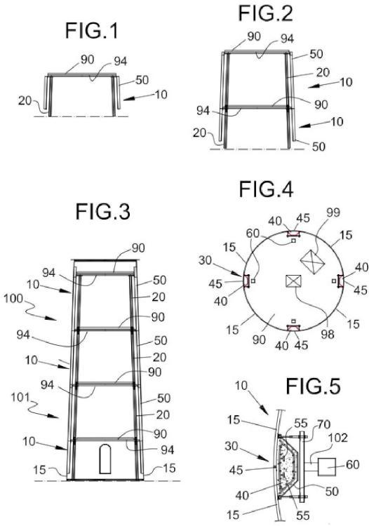 Procedimiento para montar elementos de torre para formar secciones de una torre híbrida de un aerogenerador.