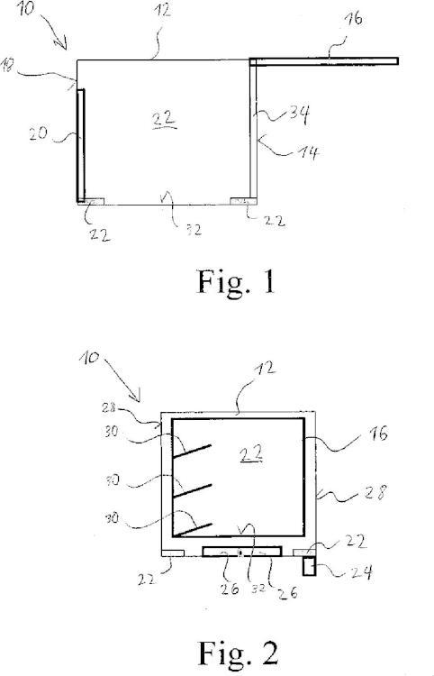 Caja de transporte y procedimiento para la descarga de bultos sueltos.