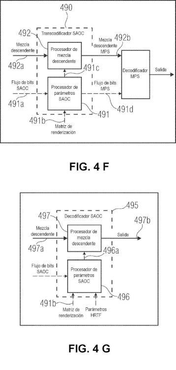 Decodificador de señales de audio, procedimiento para decodificar una señal de audio y programa de computación que utiliza etapas en cascada de procesamiento de objetos de audio.
