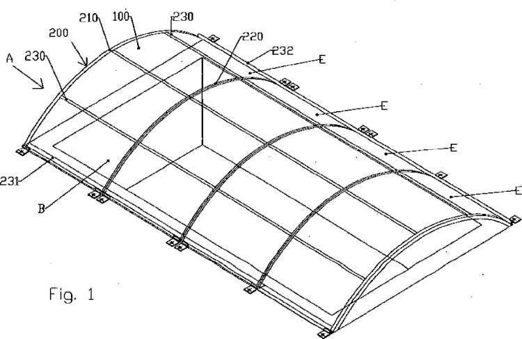 Elemento tensado de techumbre del tipo utilizado particularmente como elemento de cubierta baja de piscina.