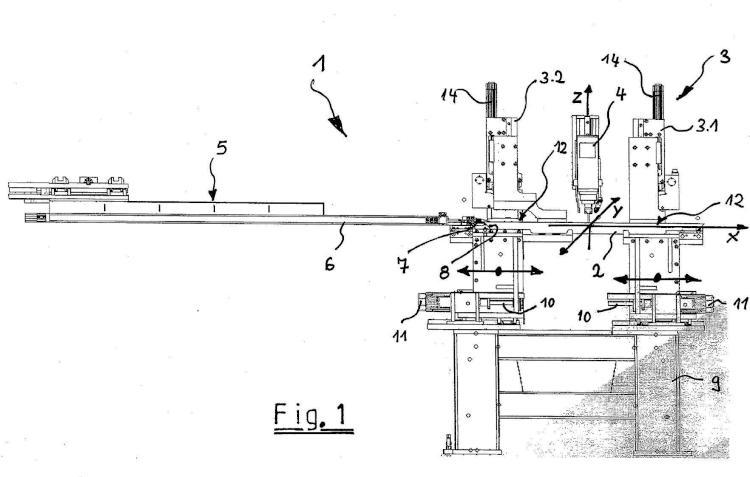 Procedimiento para la utilización de un dispositivo para la mecanización de piezas de trabajo en forma de barras como por ejemplo perfiles de ventanas o perfiles de puertas.