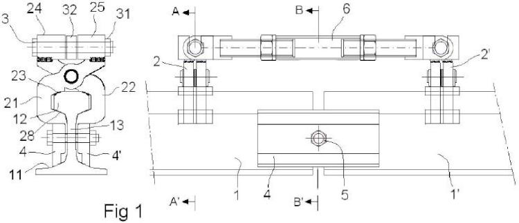 Dispositivo para embridado provisional de carriles de ferrocarril provisional.