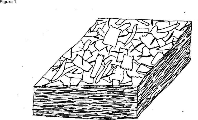 Plancha ligera de material de madera y método de fabricación.