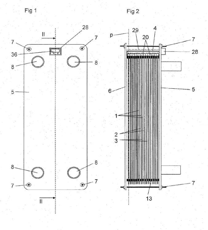 Una placa de intercambiador de calor y un intercambiador de calor de placas.