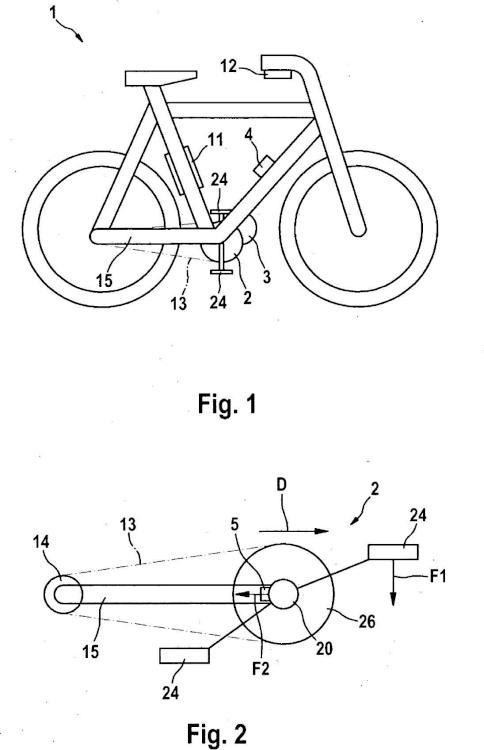 Bicicleta eléctrica con accionamiento eléctrico controlado por fuerza de pedal.
