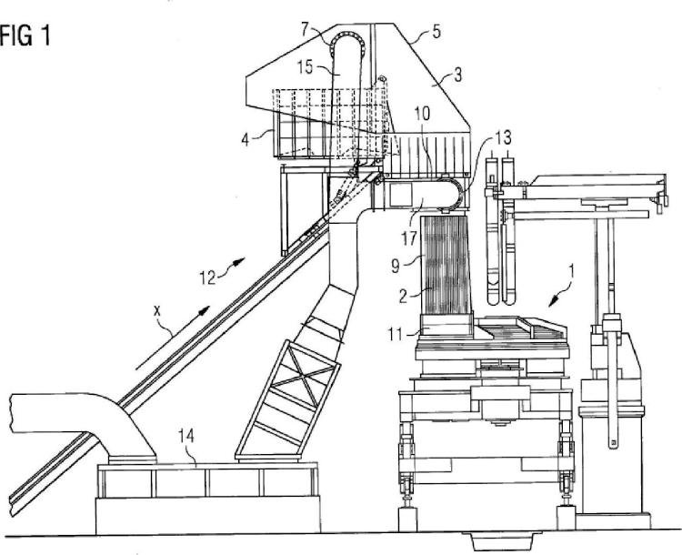 Instalación metalúrgica de fusión con elemento de carga.