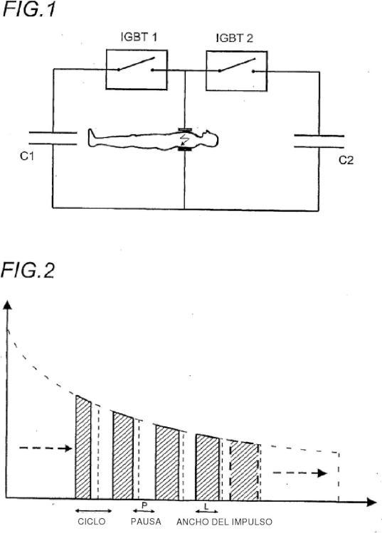 Tren de impulsos elementales modulados de desfibrilación.