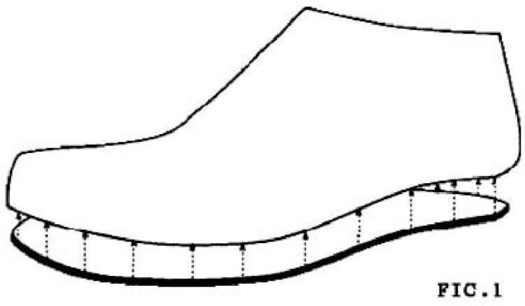 Sistema huella-barro para plantilla de calzado.