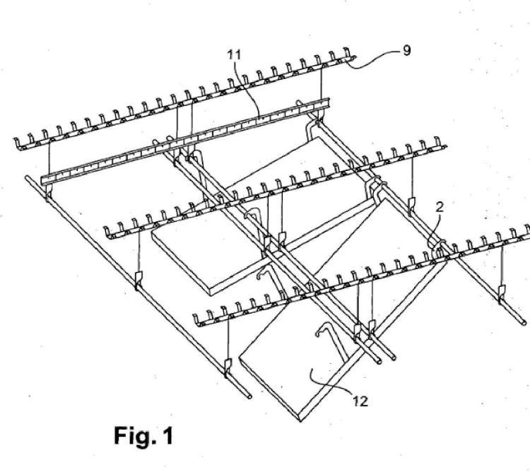 Dispositivo para la fijación de una losa a una estructura, por ejemplo una estructura portadora o una estructura intermedia de un edificio, y techo suspendido en una estructura.