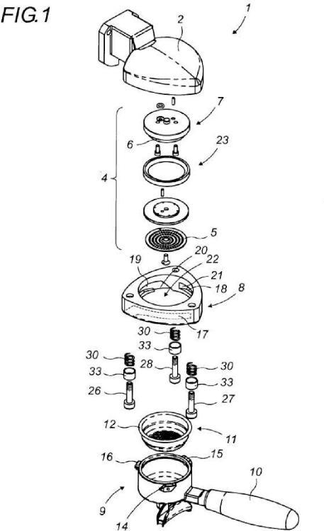 Grupo de inyección con dispositivo de suspensión elástica para un soporte portacacillos de una máquina de café del tipo llamado 'Expreso'.
