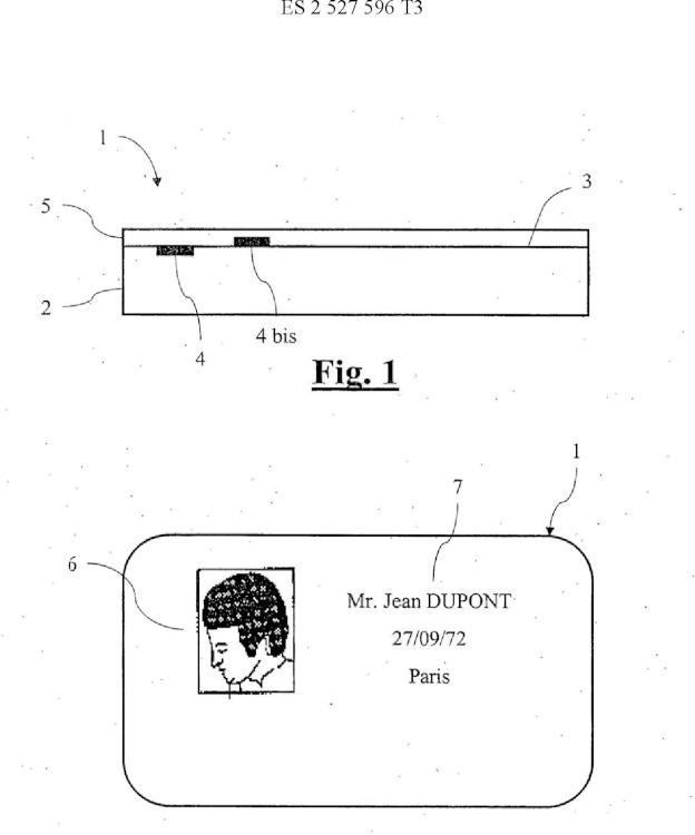 Soporte personalizado del tipo de un carnet de identidad que incorpora medios anti-falsificación.