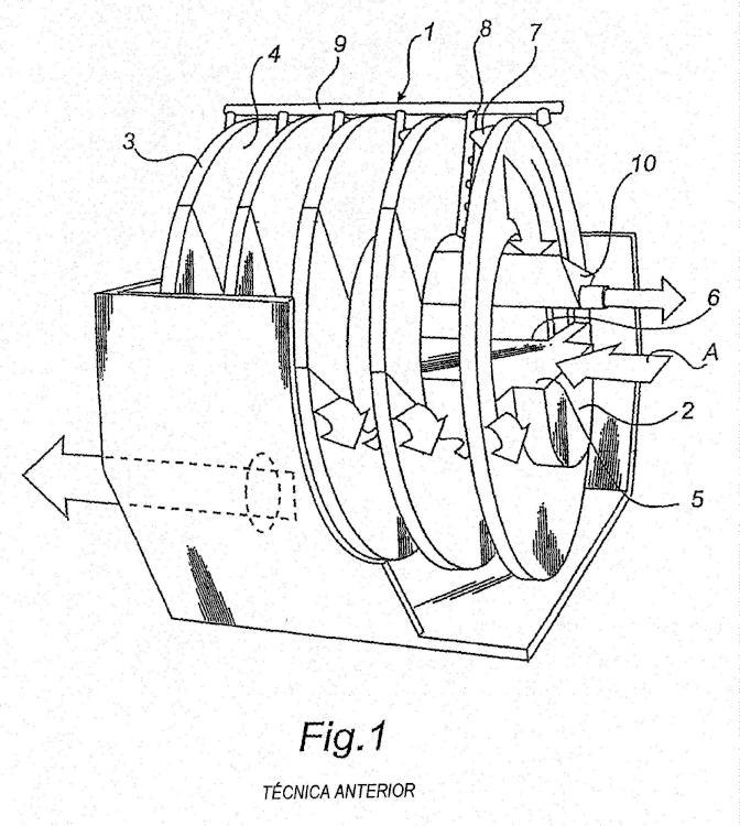 Filtro de disco giratorio y módulo para construir el mismo.