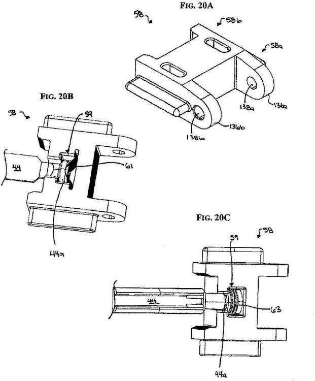Mecanismo de rueda dentada de aplicador de grapas quirúrgicas.