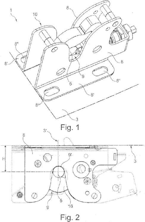 Dispositivo de anclaje para anclar una cabina de un vehículo industrial al chasis del propio vehículo.
