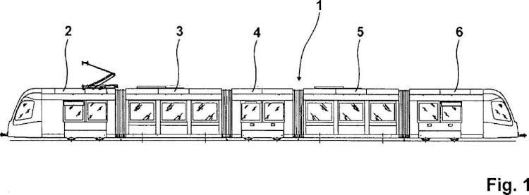 Dispositivo dispuesto en el sector de techo de dos componentes de vehículo unidos articuladamente para la limitación del movimiento de cabeceo relativo de los componentes de vehículo entre sí.