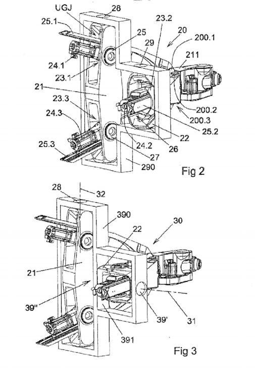 Una máquina de cinemática paralela con soportes de cardán.