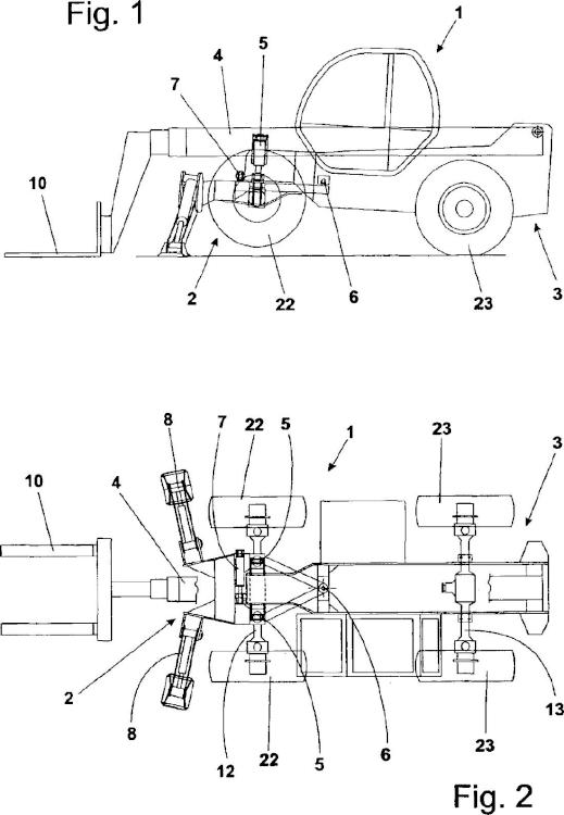Máquina de trabajo automotriz con dispositivo integrado de movimiento lateral y nivelación.