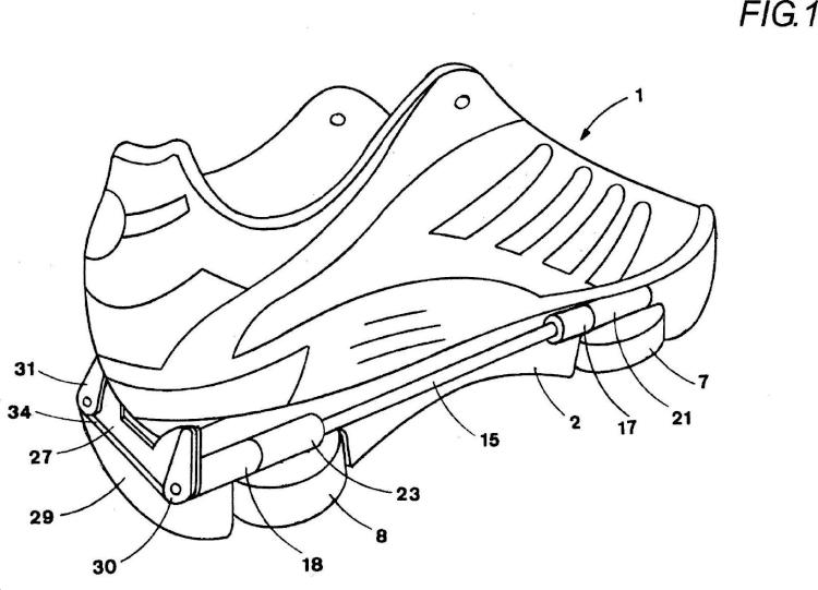 Zapato polivalente para la marcha y la rodadura, que comprende ruedecillas integradas en la suela,desplegables lateralmente.